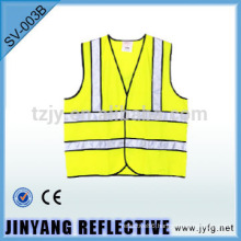 High visibility reflective tape safety vest wth black piping
